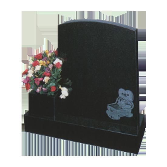 Childrens Black Granite Cradle Memorial