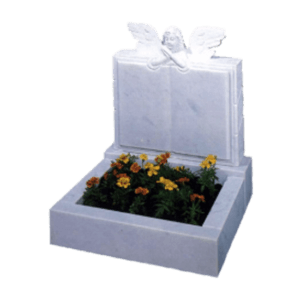 Marble Book with Angel Over Cremation Memorial