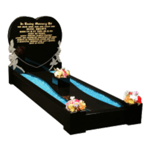 Black Granite Heart Shaped Headstone Memorial with Kerbs and Carved Roses