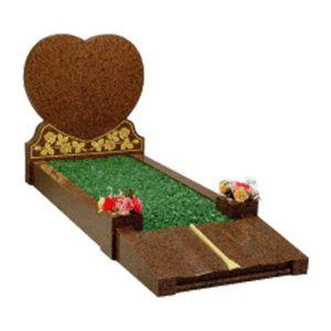 Red Granite Heart Shaped Headstone Memorial with Kerbs - Gold Roses Design and Footplate