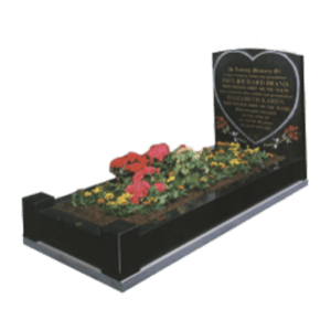 Black Granite Memorial with Full Kerb Set and Heart Design