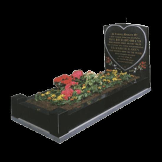 Black Granite Memorial with Full Kerb Set and Heart Design