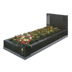 Black Granite Memorial with Full Kerb Set and Church Window Design