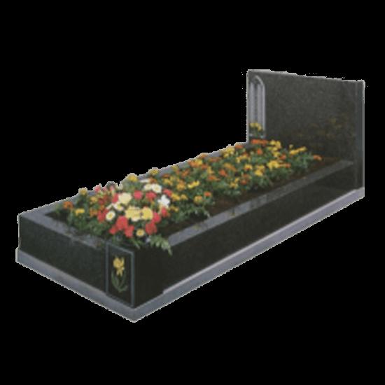Black Granite Memorial with Full Kerb Set and Church Window Design