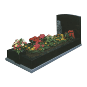 Black Granite Memorial with Full Kerb Set and Church Design