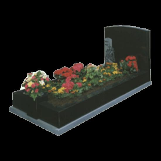 Black Granite Memorial with Full Kerb Set and Church Design