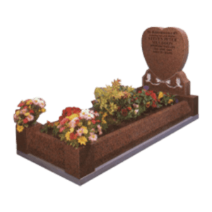 Balmoral Red Granite Memorial with Full Kerb Set and Doves Design