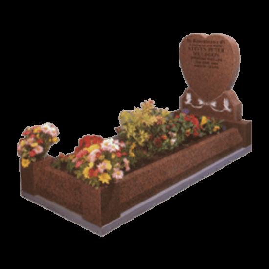 Balmoral Red Granite Memorial with Full Kerb Set and Doves Design
