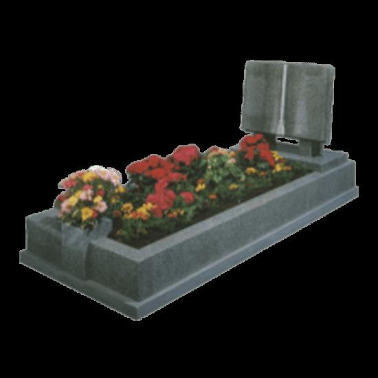 Light Grey Granite Memorial with Full Kerb Set