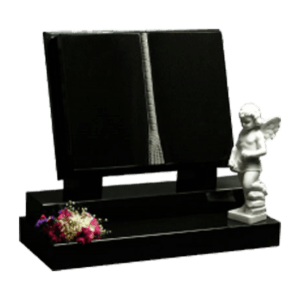 Black Granite Carved Book Headstone and Base Memorial