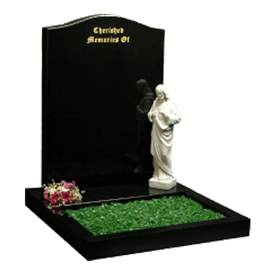 Black Granite Headstone and Base Memorial with Garden Kerbs