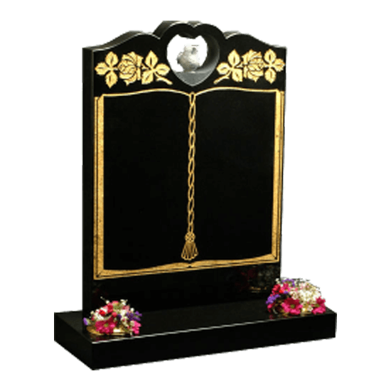 Black Granite Cut Through Headstone and Base Memorial with Gold Book Design