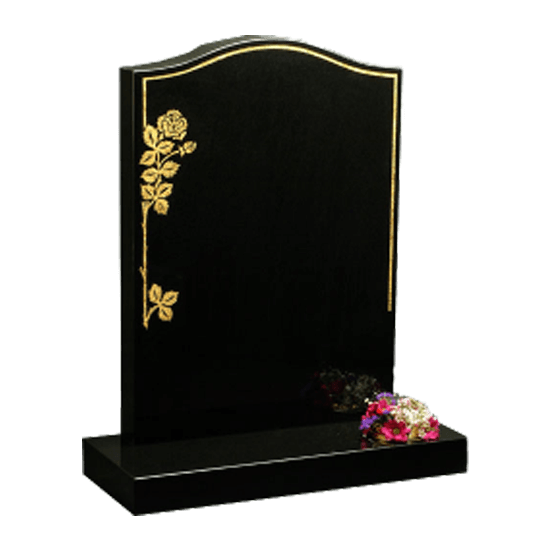 Black Granite Headstone and Base Memorial with Gold Rose and Keyline