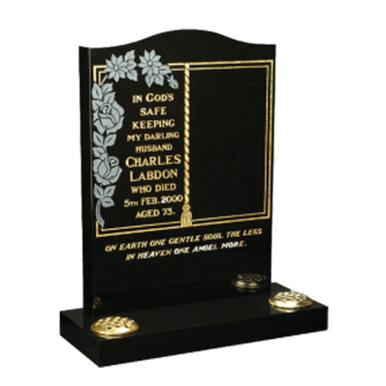 Black Granite Headstone and Base Memorial with Gold Book and Maintenance Free Rose Design