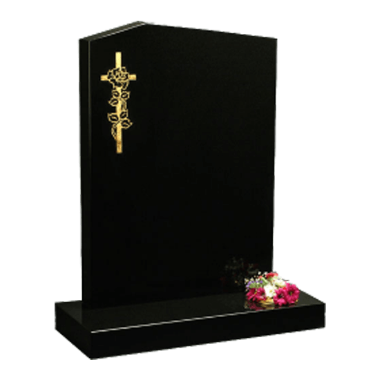 Black Granite Headstone and Base Memorial with Gold Cross and Rose Design
