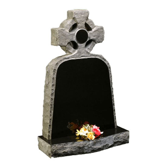 Black Granite Celtic Cross Headstone and Base Memorial with Rustic Finish