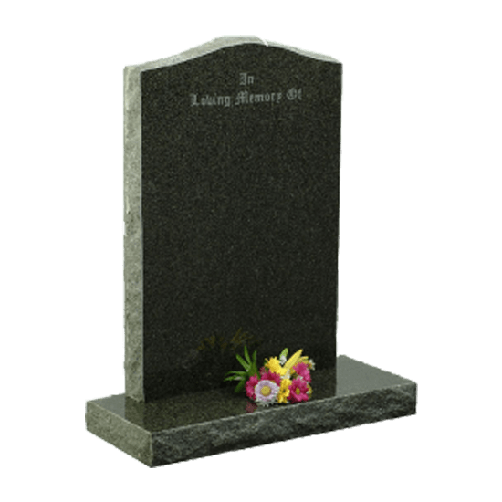 Dark Grey Granite Peon Top Headstone and Base Memorial with Rustic Finish