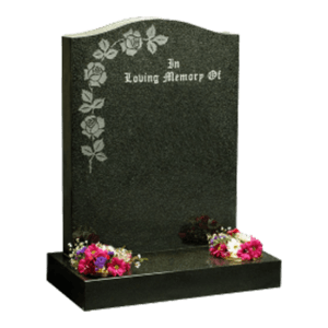 Dark Grey Granite Headstone and Base Memorial with Maintenance Free Roses Design