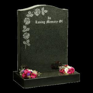 Dark Grey Granite Headstone and Base Memorial with Maintenance Free Roses Design