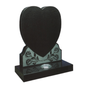 Black Granite Heart Shaped Headstone and Base Memorial with Maintenance Free Roses Design