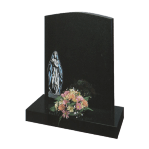 Black Granite Headstone and Base Memorial with Our Lady Design