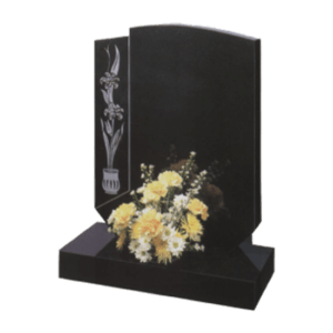 Black Granite Bespoke Headstone and Base Memorial and Maintenance Free Flower Design