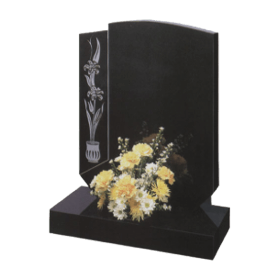 Black Granite Bespoke Headstone and Base Memorial and Maintenance Free Flower Design