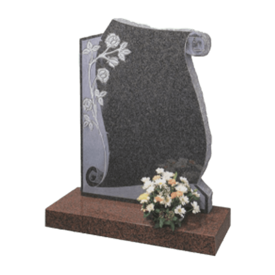 Dark Grey and Balmoral Red Granite Scroll Headstone and Base Memorial with Carve Blasted Flowers