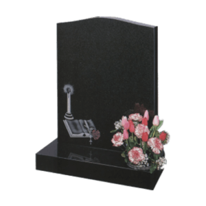 Black Granite Headstone and Base Memorial with Bible and Candle Design