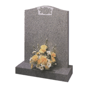 Light Grey Granite Headstone and Base Memorial with Flower Design