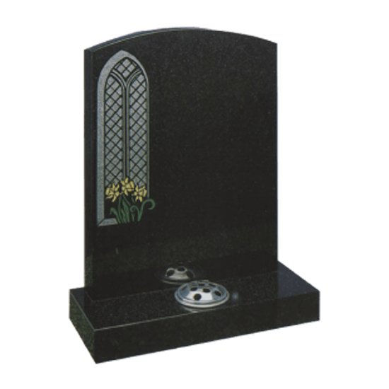 Black Granite Headstone and Base Memorial with Church Window and Daffodils Design