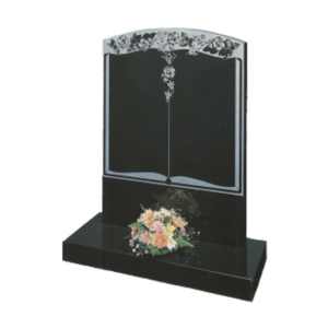 Black Granite Headstone and Base Memorial with Maintenance Free Book Design with Flowers