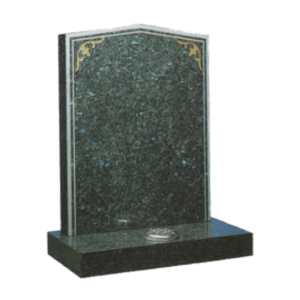 Blue Pearl Granite Headstone and Base Memorial with Silver Border - Keyline and Gold Filligrees