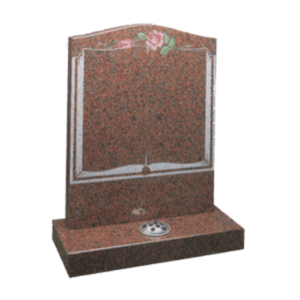 Balmoral Red Granite Headstone and Base Memorial with Book and Roses Design