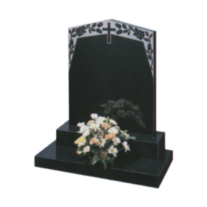Black Granite Headstone and Base Memorial with Cross and Maintenance Free Flowers Design