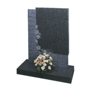 Dark Grey Granite Headstone and Base Memorial with Maintenance Free Brick Wall and Roses Design