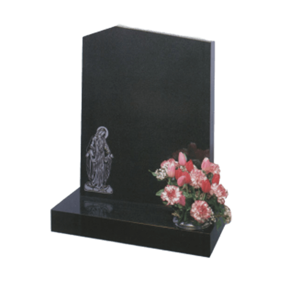 Black Granite Headstone and Base Memorial with Offset Peon Top and Our Lady Design