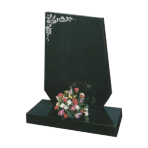 Black Granite Bespoke Shaped Headstone and Base Memorial with Maintenance Free Flower Design