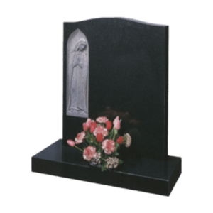 Black Granite Headstone and Base Memorial with Carved Our Lady in a Niche
