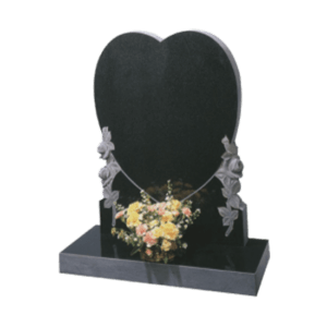 Black Granite Heart Shaped Headstone and Base Memorial with Carved Roses