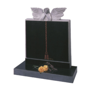 Black Granite Headstone and Base Memorial with Carved Book and Angel Over