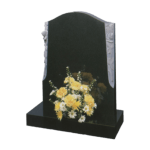 Black Granite Headstone and Base Memorial with Carved Flowers