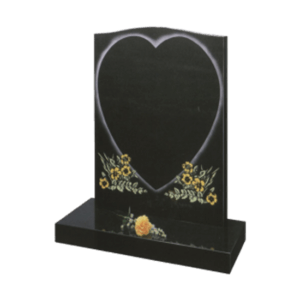 Black Granite Headstone and Base Memorial with Heart Design and Painted Flowers