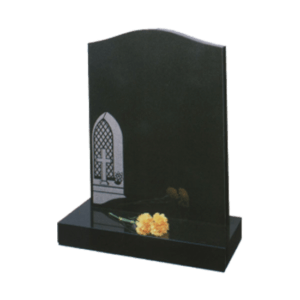 Black Granite Headstone and Base Memorial with Maintenance Free Church Window and Cross Design