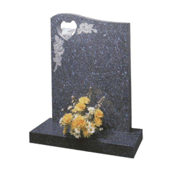 Blue Pearl Granite Headstone and Base Memorial with Cut Through Heart - Marble Dove and Carve Blasted Flower