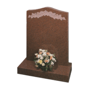 Balmoral Red Granite Headstone and Base Memorial with Carve Blasted Flowers