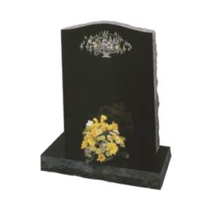Black Granite Headstone and Base Memorial with Painted Flowers Design and Rustic Edges