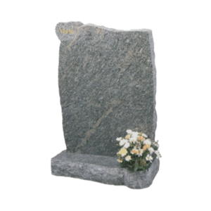Light Grey Granite Headstone and Base Memorial with Heart Shaped Feature and Rustic Finish