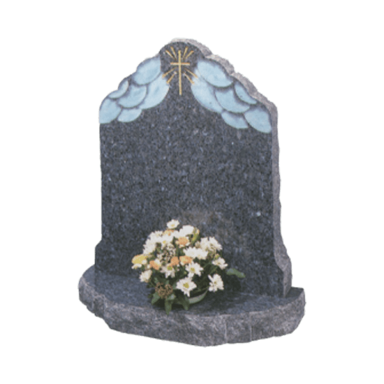 Black Granite Bespoke Headstone and Base Memorial with Clouds and Cross Design