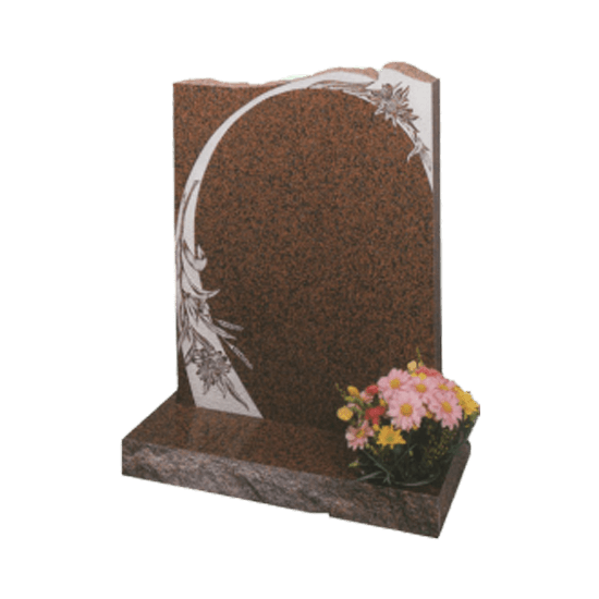 Balmoral Red Granite Headstone and Base Memorial with Unique White Flowers Design and Rustic Edges